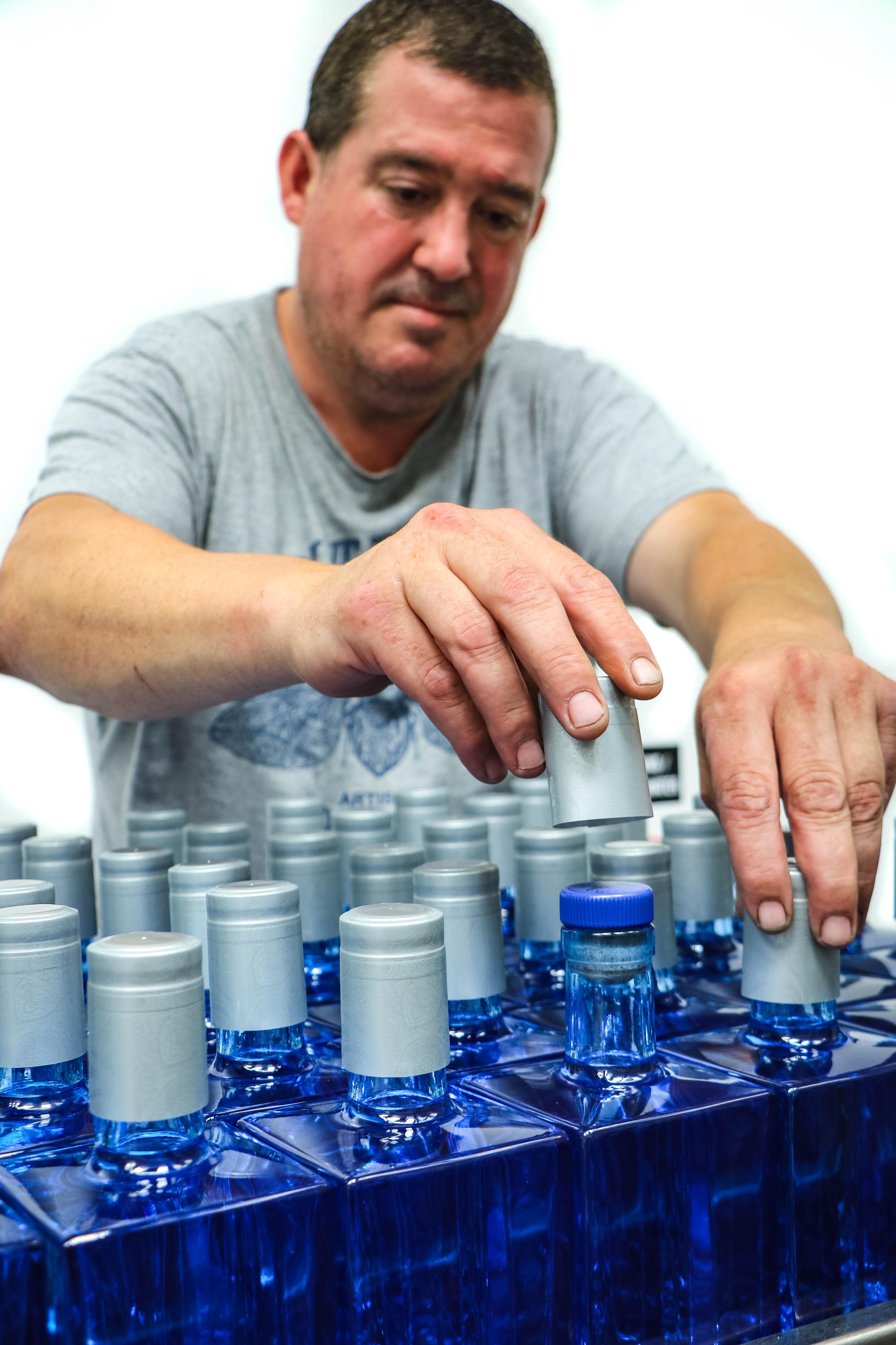 blue bottle gin team bottling