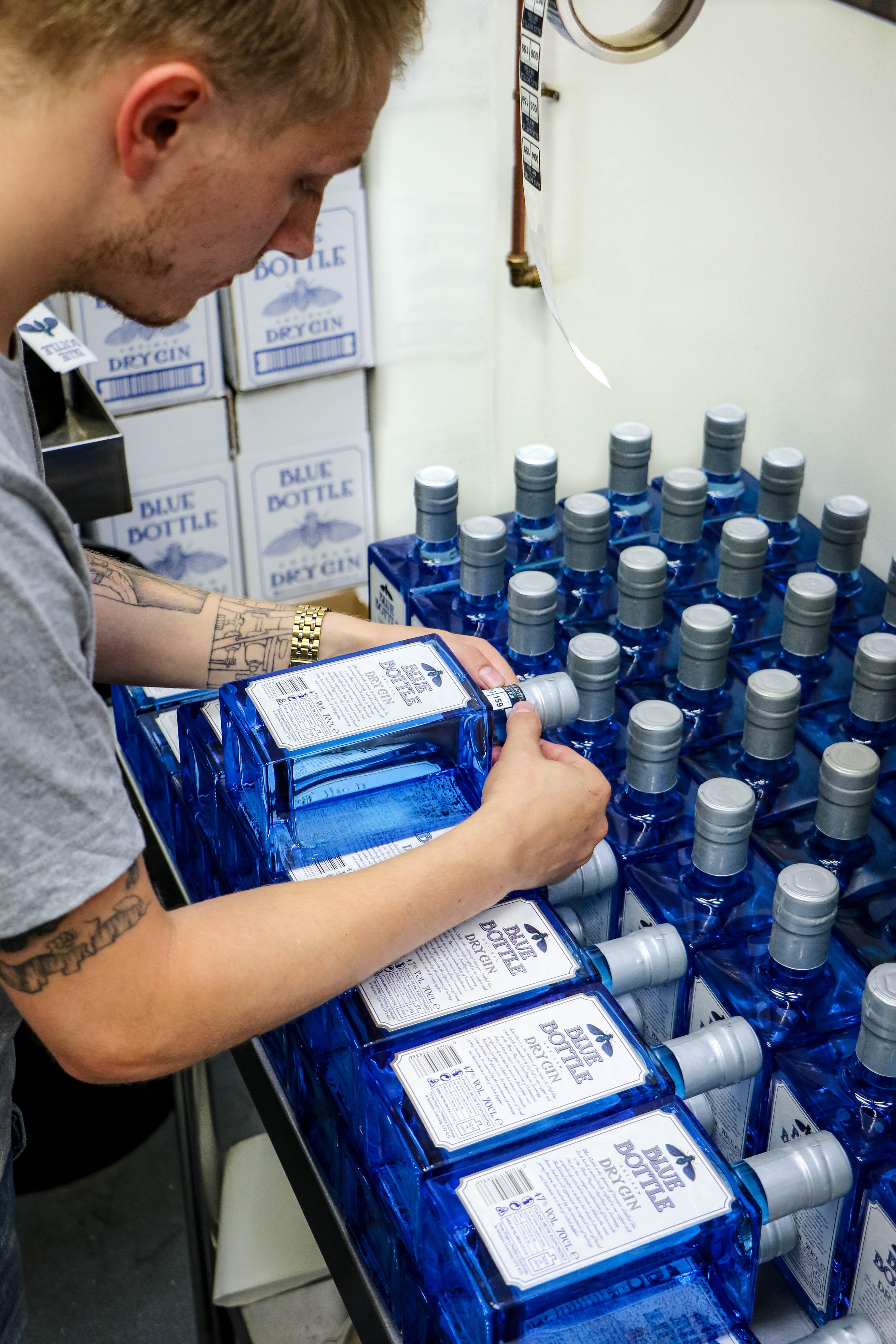 Blue Bottle Gin sticker team